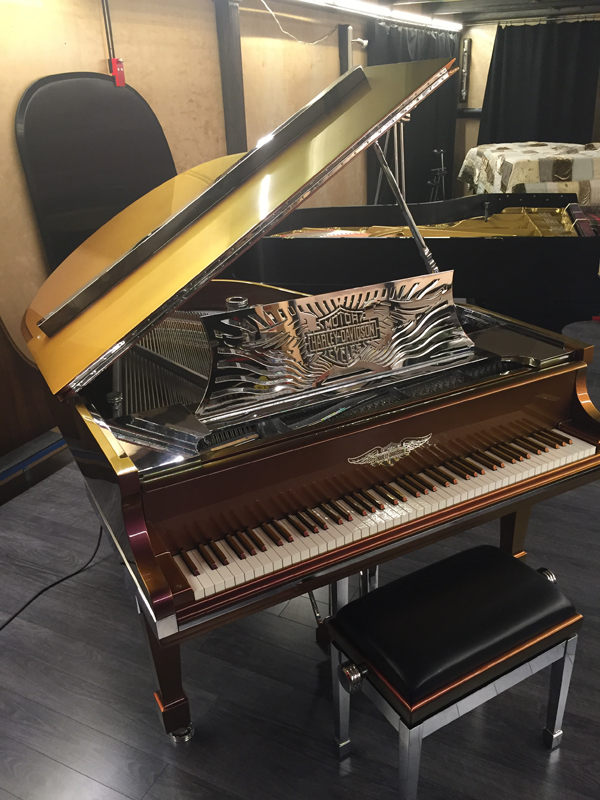 HarleyDavidsonPiano_Lid Harley Davidson Custom Piano for Sale!