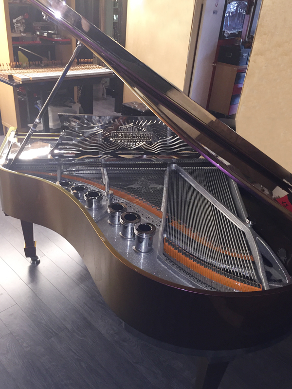 HarleyDavidsonPiano_TopView Harley Davidson Custom Piano for Sale!